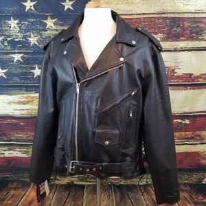 ZONY MENS BLACK LEATHER LINED MOTORCYCLE JACKET
